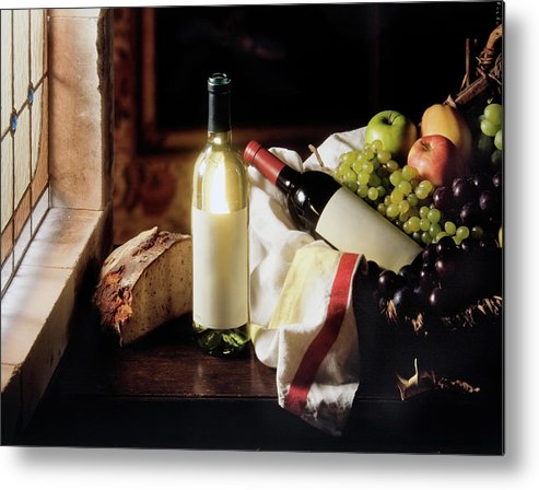 Golden Delicious Apple Metal Print featuring the photograph Still Life With Two Wine Bottles by C-vino