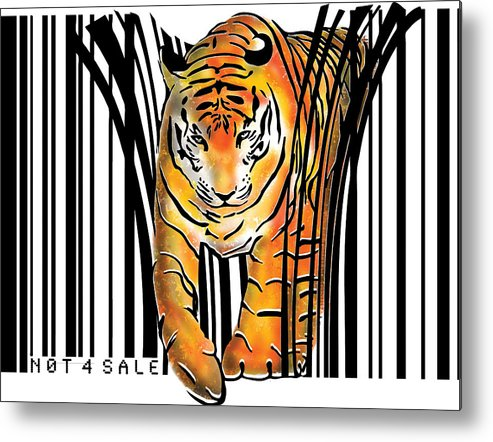 Tiger Metal Print featuring the digital art Tiger barcode by Sassan Filsoof