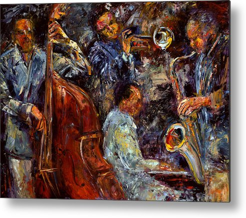 Jazz Metal Print featuring the painting Hot Jazz 3 by Debra Hurd