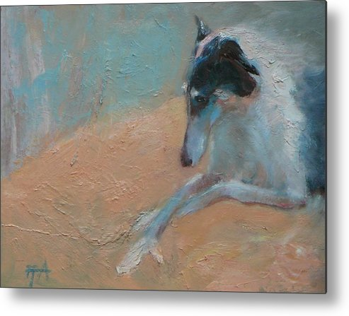 Animal Metal Print featuring the painting SOLD Borzoi Waiting for Dusk by Irena Jablonski