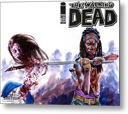 Walking Dead Metal Print featuring the painting Walking Dead Michonne by Ken Meyer jr