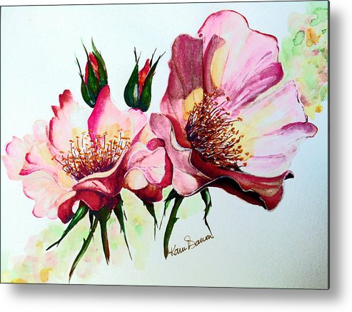 Flower Painting Metal Print featuring the painting A Rose Is A Rose by Karin Dawn Kelshall- Best