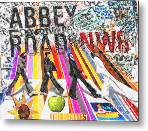 Abbey Road Metal Print featuring the mixed media Abbey Road by Mo T