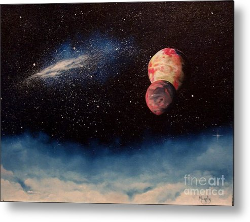 Landscape Metal Print featuring the painting Above Alien Clouds by Murphy Elliott