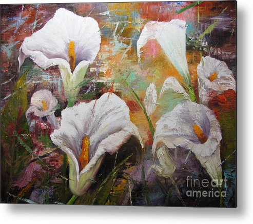 Large Oil Painting Metal Print featuring the painting Abstract Fractured Calla Lilies by Barbara Haviland