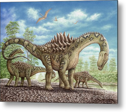 Animal Metal Print featuring the painting Ampelosaurus dinosaur by Phil Wilson