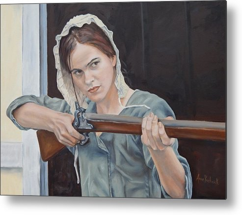 Portrait Metal Print featuring the painting Ani Get Your Gun by Anne Kushnick
