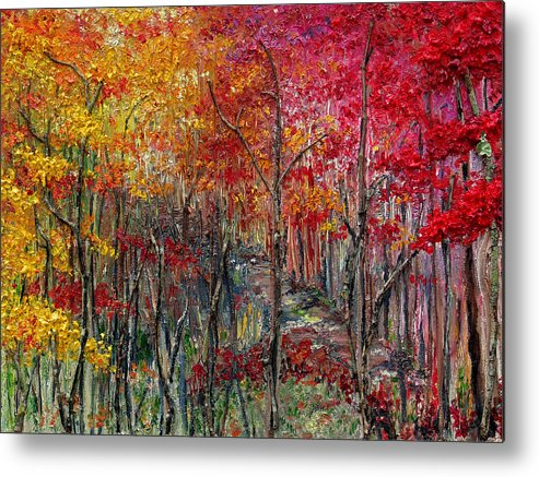 Autumn Metal Print featuring the painting Autumn In The Woods by Karin Dawn Kelshall- Best