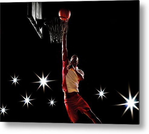 Three Quarter Length Metal Print featuring the photograph Basketball Player Dunking Basketball On by Compassionate Eye Foundation/chris Newton