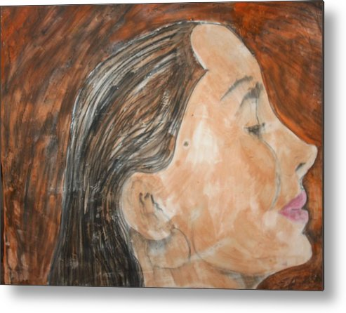 Women Metal Print featuring the painting Beauty Remains by J Bauer