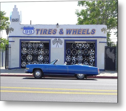 Music Metal Print featuring the photograph Blue Cadillac At Tires & Wheels by Jim Steinfeldt