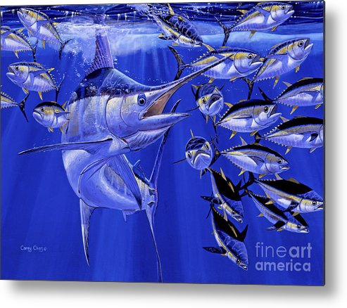 Blue Marlin Metal Print featuring the painting Blue marlin round up Off0031 by Carey Chen