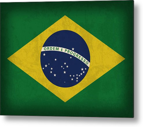 Brazil Flag Metal Print featuring the mixed media Brazil Flag Vintage Distressed Finish by Design Turnpike