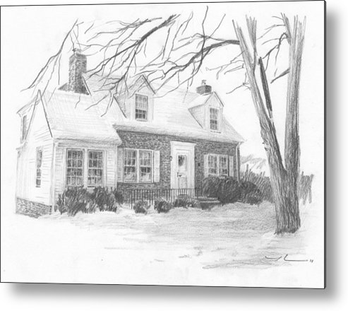 <a Href=http://miketheuer.com Target =_blank>www.miketheuer.com</a> Brick Cottage Pencil Portrait Metal Print featuring the drawing Brick Cottage Pencil Portrait by Mike Theuer