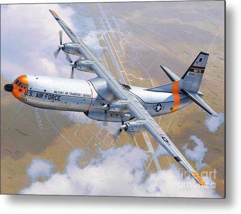 C-133 Metal Print featuring the digital art C-133 Cargomaster Over Travis by Stu Shepherd