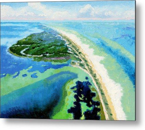 Landscape Metal Print featuring the painting Cape San Blas Florida by John Lautermilch