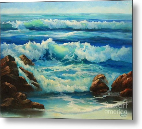 Seascape Metal Print featuring the painting Carmel by the Sea by Gail Salitui