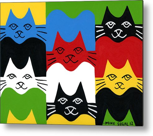 Cat Metal Print featuring the painting Cats by Mike Segal