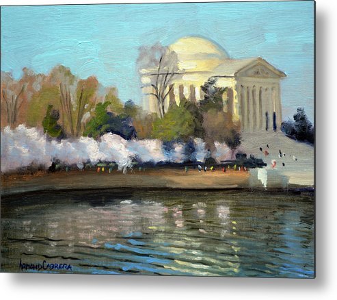 Washington Dc Metal Print featuring the painting Cherry Blossoms Morning - Washington DC by Armand Cabrera