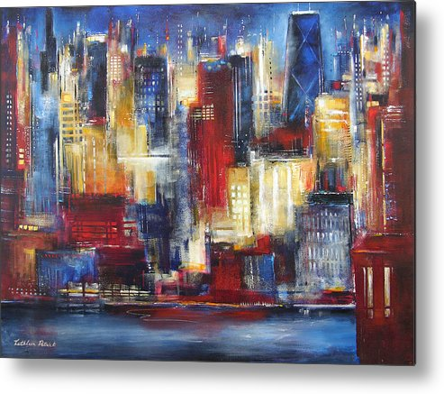 Chicago Art Metal Print featuring the painting Chicago In The Evening by Kathleen Patrick