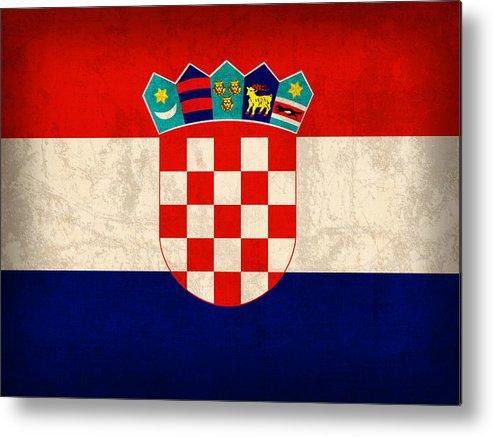 Croatia Metal Print featuring the mixed media Croatia Flag Vintage Distressed Finish by Design Turnpike
