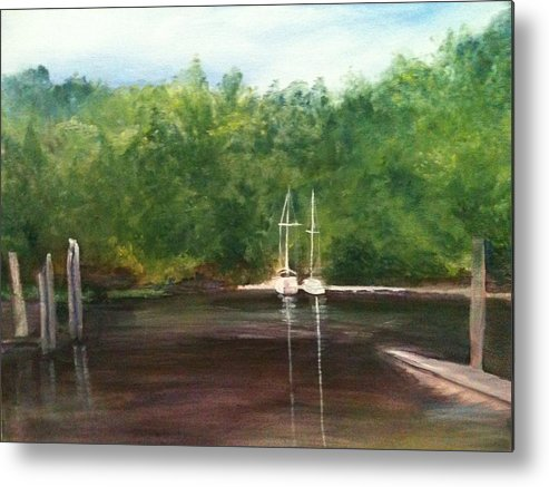 Plein Aire Metal Print featuring the painting Curtain's Marina by Sheila Mashaw