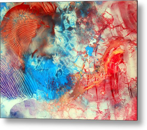 Decalcomaniac Metal Print featuring the painting Decalcomaniac Colorfield Abstraction Without Number by Otto Rapp