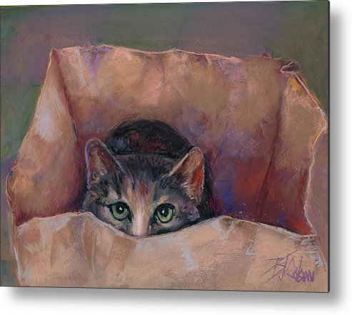 Cats Metal Print featuring the painting Don't Let the Cat out of the Bag by Billie Colson