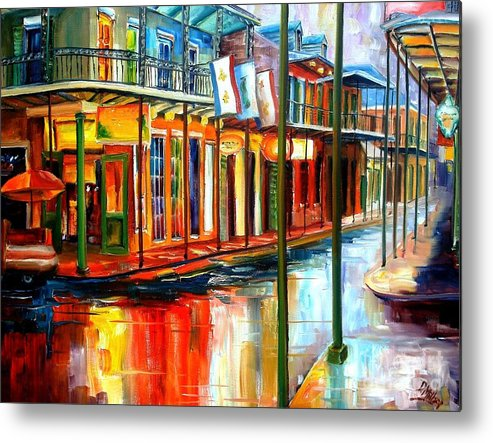 New Orleans Metal Print featuring the painting Downpour on Bourbon Street by Diane Millsap