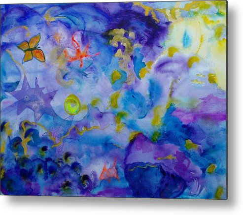 Watercolor Metal Print featuring the painting Dreams by Phoenix Simpson