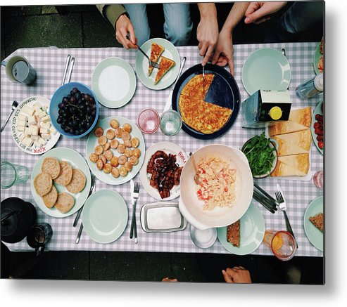 People Metal Print featuring the photograph Elevated View Of A Variety Of Meals by Kirsty Lee / Eyeem