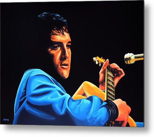 Elvis Metal Print featuring the painting Elvis Presley 2 Painting by Paul Meijering