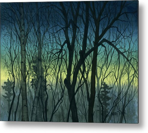 Blue Metal Print featuring the painting Evening Stand by Mary Tuomi