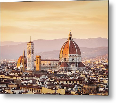 Campanile Metal Print featuring the photograph Florences Cathedral And Skyline At by Filippobacci
