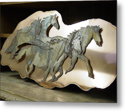 Horse Metal Print featuring the sculpture Ghost Heard by Steve Mudge