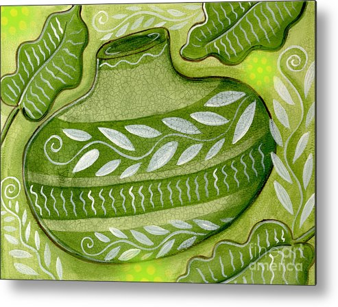 Leaves Metal Print featuring the mixed media Green Gourd by Elaine Jackson