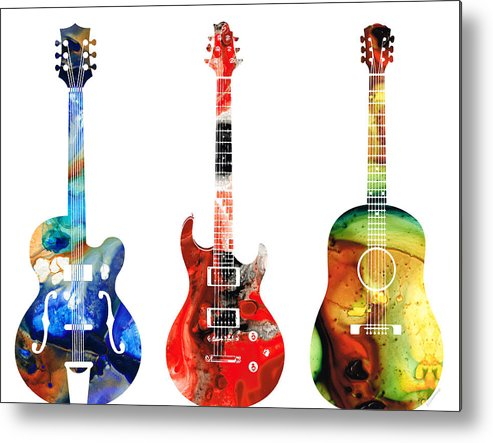 Guitar Metal Print featuring the painting Guitar Threesome - Colorful Guitars By Sharon Cummings by Sharon Cummings