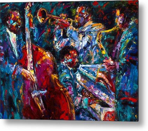Jazz Metal Print featuring the painting Hot Jazz by Debra Hurd