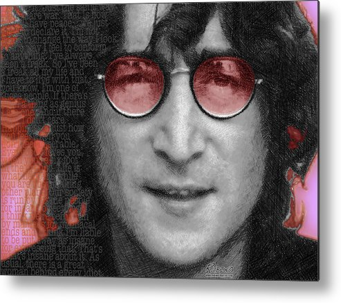 John Lennon Metal Print featuring the painting Imagine John Lennon by Tony Rubino