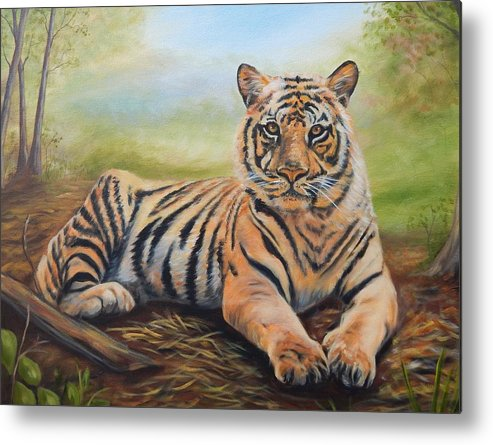 Tiger Metal Print featuring the painting In Repose by Anne Kushnick