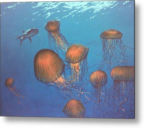 Underwater Metal Print featuring the painting Jellyfish and Mr. Bones by Philip Fleischer