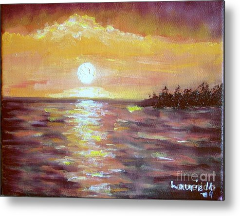 Sunset Metal Print featuring the painting Kona Sunset by Laurie Morgan