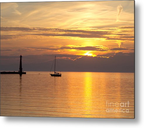 Sunset Metal Print featuring the photograph Lake Of Gold by Ann Horn