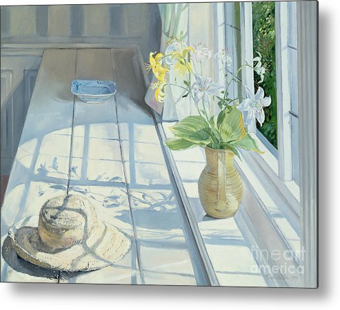 Window Metal Print featuring the painting Lilies And A Straw Hat by Timothy Easton