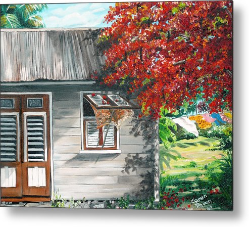 Caribbean Painting Typical Country House In The Caribbean Or West Indian Islands With Flamboyant Tree Tropical Painting Metal Print featuring the painting Little West Indian House 1 by Karin Dawn Kelshall- Best