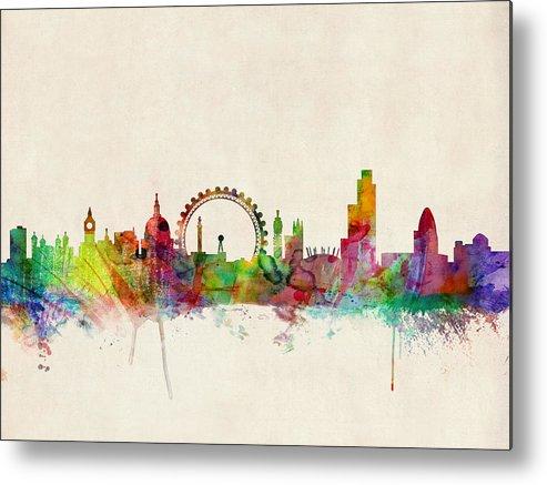 London Metal Print featuring the digital art London Skyline Watercolour by Michael Tompsett