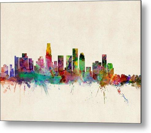 Watercolour Metal Print featuring the digital art Los Angeles City Skyline by Michael Tompsett