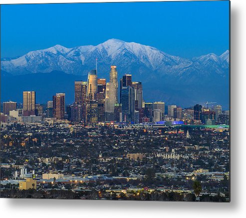 Downtown District Metal Print featuring the photograph Los Angeles Skyline With Snow Capped Mountains by Carl Larson Photography