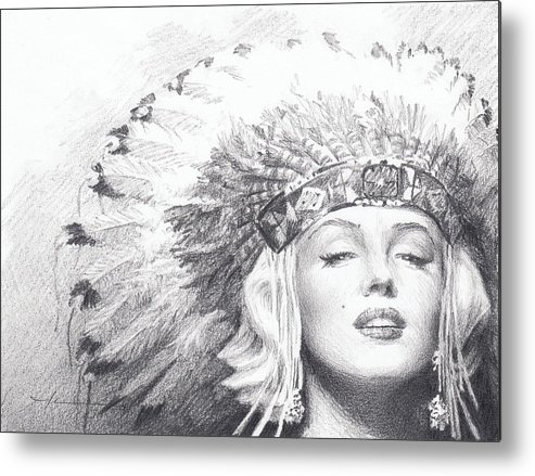 <a Href=http://miketheuer.com Target =_blank>www.miketheuer.com</a> Metal Print featuring the drawing Marilyn Monroe In Headdress Pencil Portrait by Mike Theuer