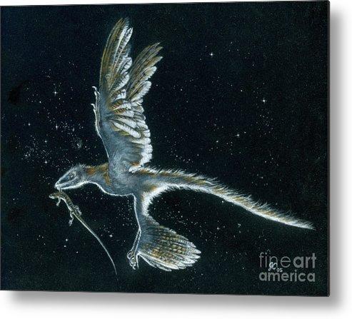 Dinosaur Metal Print featuring the painting Moonlight hunt - Microraptor by Julius Csotonyi